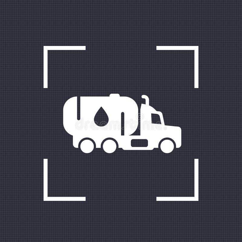 Значок топливозаправщика бензина, тележка с нефтью иллюстрация штока