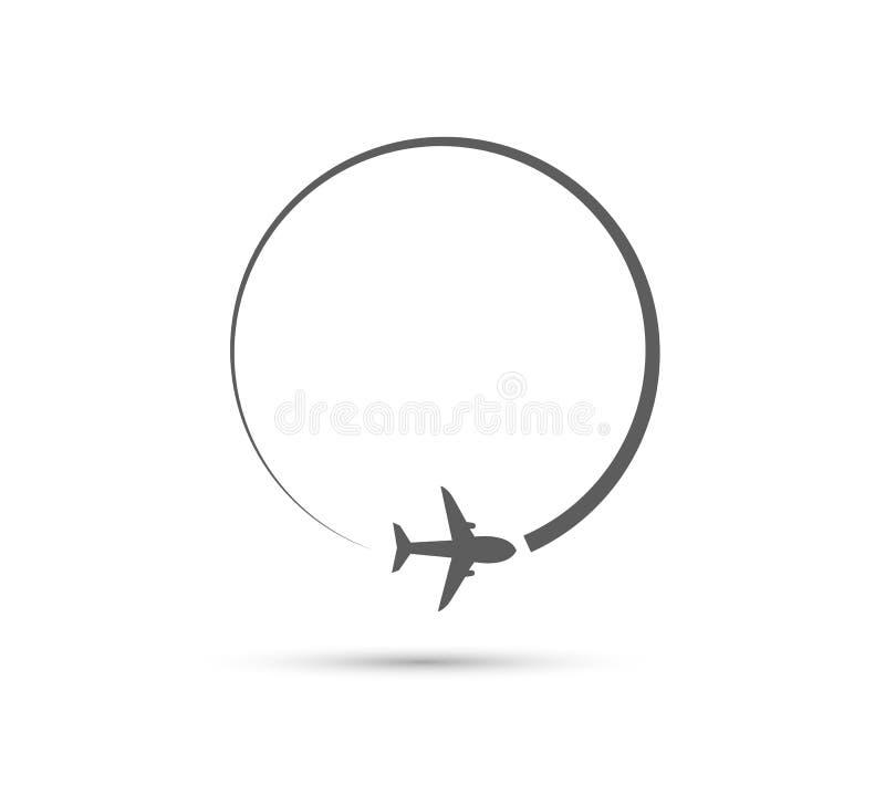 Значок траектории полета авиакомпании плоский иллюстрация вектора