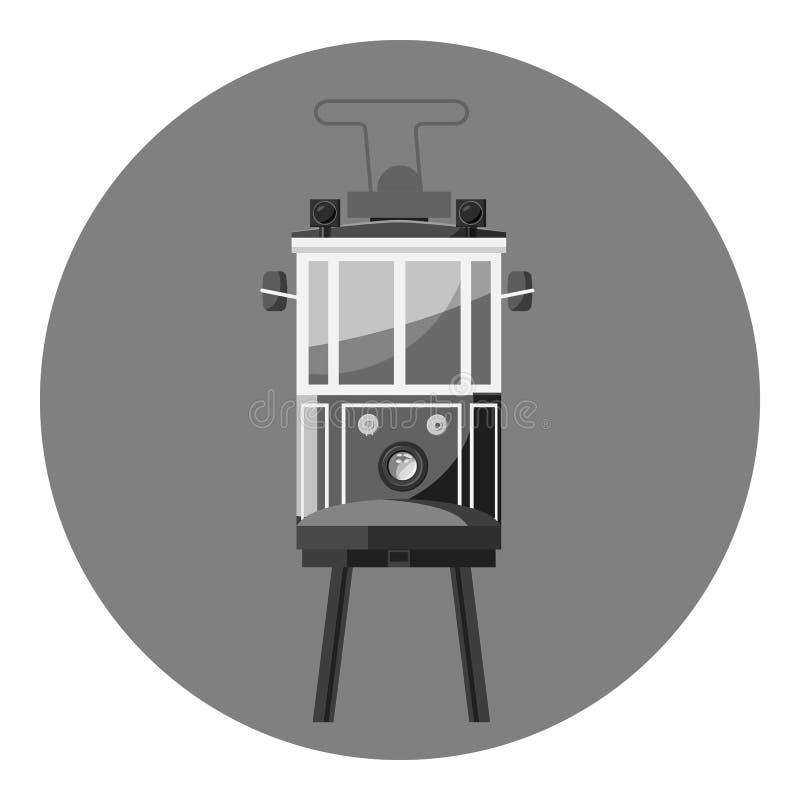 Значок трамвая, серый monochrome стиль иллюстрация вектора