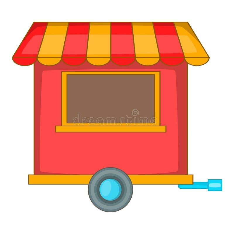 Значок трейлера еды улицы, стиль шаржа иллюстрация вектора