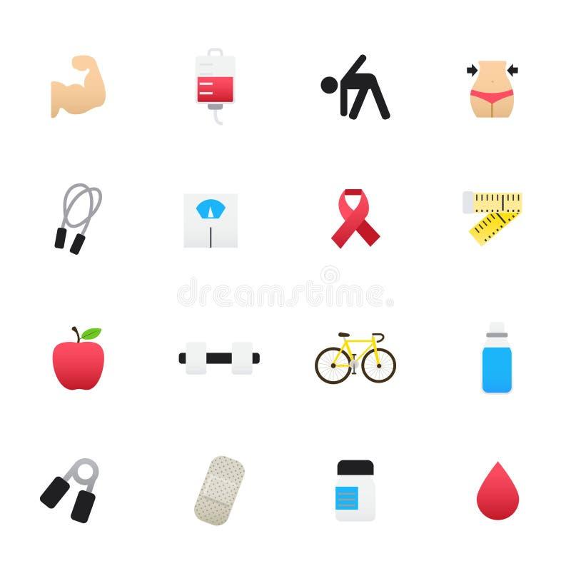 Значок тренировки и фитнеса Комплект стиля значков цвета иллюстрации вектора здравоохранения плоского иллюстрация вектора
