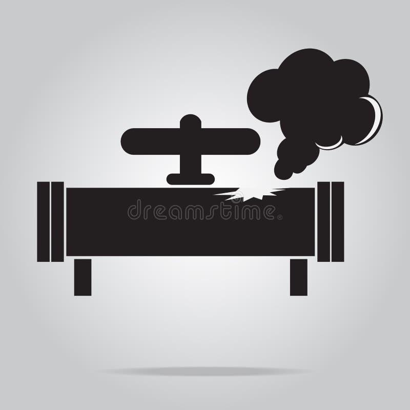 Значок трубы утечки газа Знак значка трубы газа загрязнения иллюстрация вектора