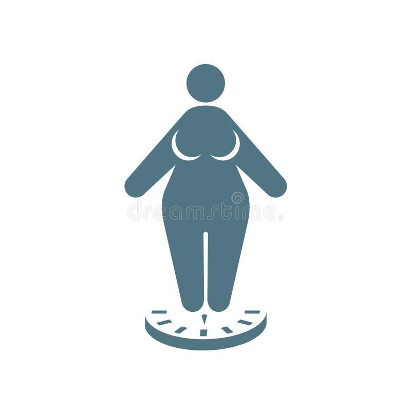 Значок тучной женщины стоя на масштабах - тучность и теряет вес иллюстрация вектора