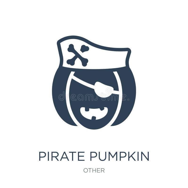 значок тыквы пирата в ультрамодном стиле дизайна значок тыквы пирата изолированный на белой предпосылке значок вектора тыквы пира иллюстрация штока