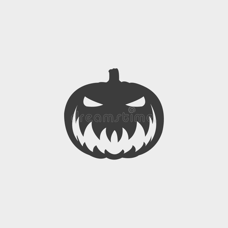 Значок тыквы хеллоуина в плоском дизайне в черном цвете Иллюстрация EPS10 вектора иллюстрация штока
