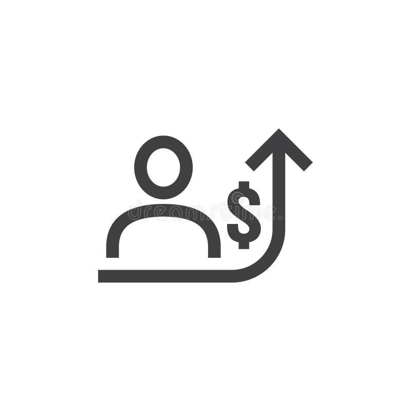 значок увеличения заработной платы работника на белой предпосылке с людьми, стрелка вверх по графику и символ денег доллара дело  бесплатная иллюстрация