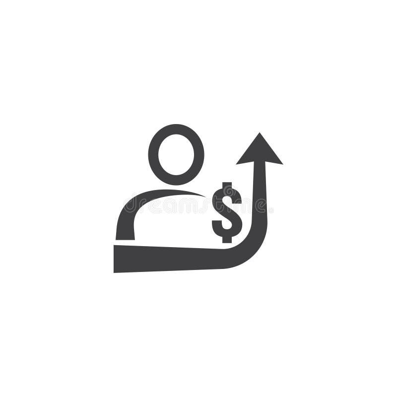значок увеличения заработной платы работника на белой предпосылке с людьми, стрелка вверх по графику и символ денег доллара дело  иллюстрация вектора