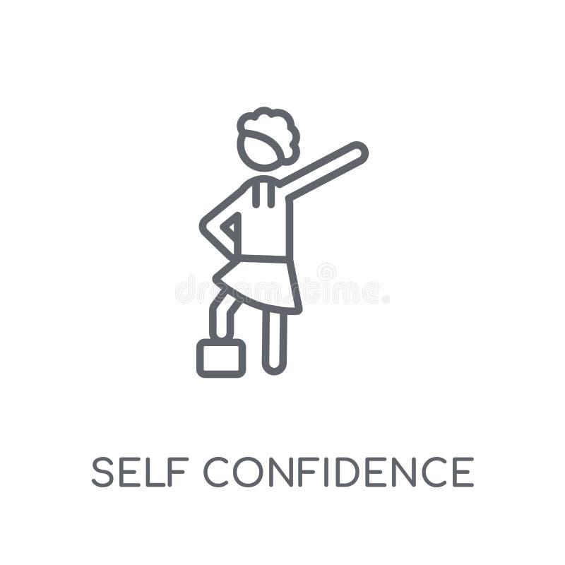 Значок уверенности в себе линейный Современный логотип уверенности в себе плана иллюстрация штока