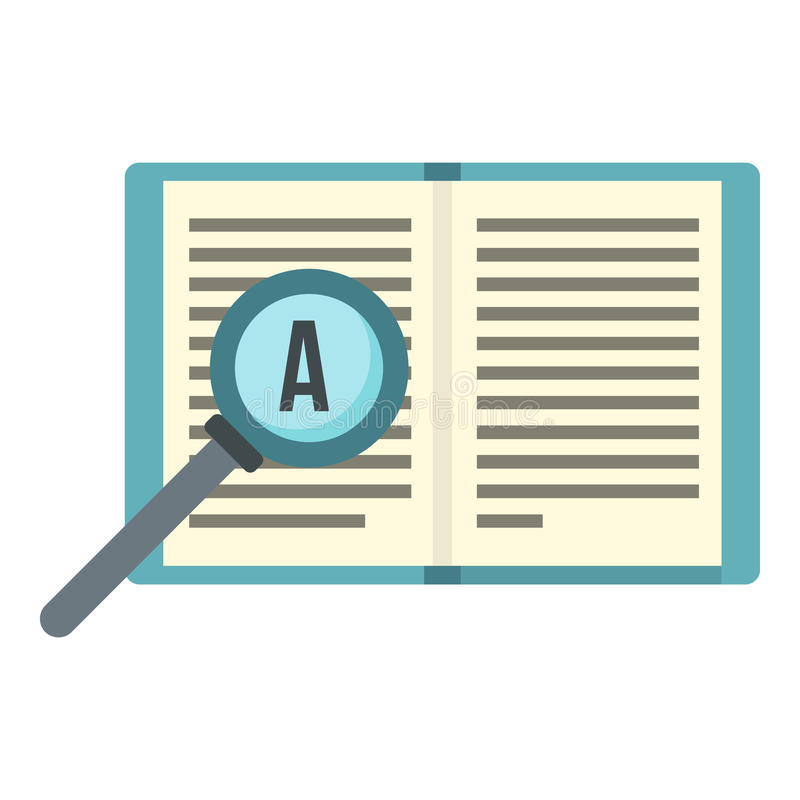 Значок увеличителя и книги, плоский стиль иллюстрация штока