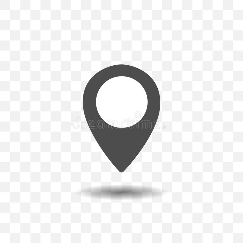 Значок указателя положения карты на прозрачной предпосылке Штырь карты для цели или назначения иллюстрация штока