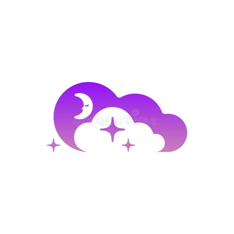 Значок луны, облаков и звезд Логотип символа шаблона Ноча или знак времени кровати Концепция логотипа в отрицательном космосе иллюстрация штока