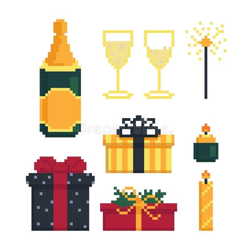 Значок установил для рождественской вечеринки Детали на праздник бит 8 Графики для игр Иллюстрация вектора в стиле пиксела иллюстрация штока
