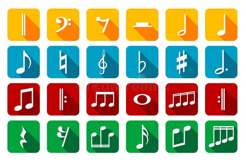 Значок установил примечаний и знаков музыки бесплатная иллюстрация