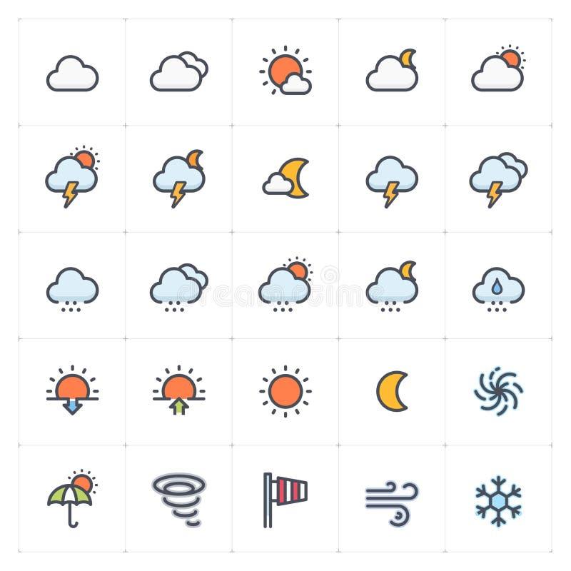 Значок установил - цвет погоды и прогноза полный иллюстрация вектора