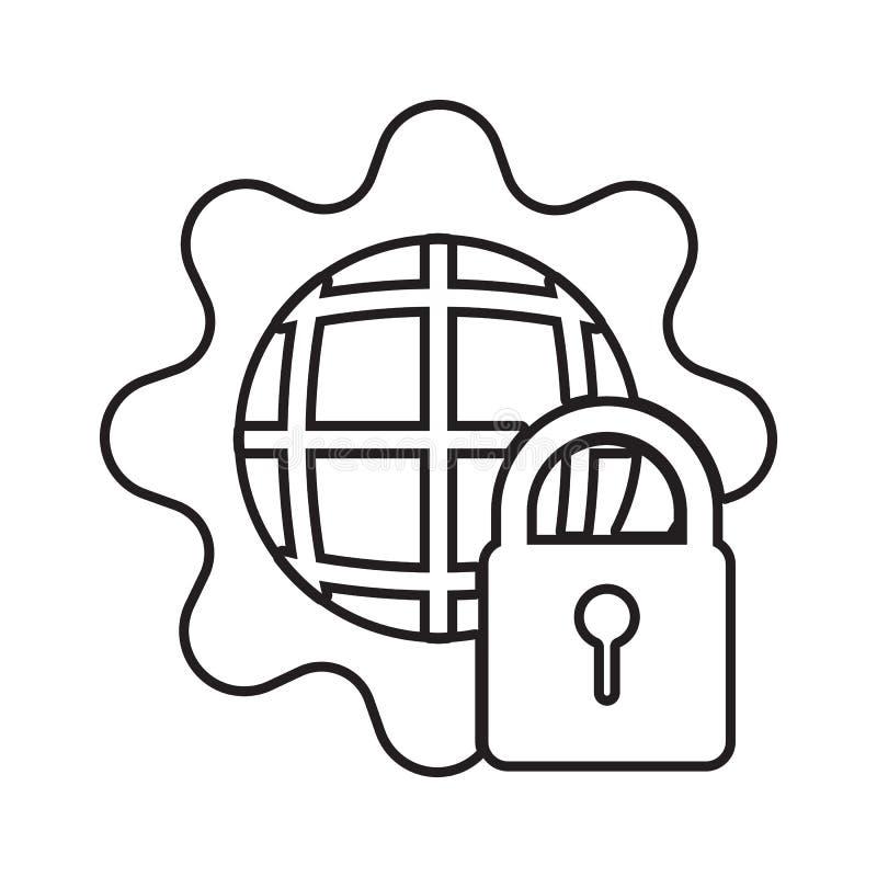 значок установки безопасностью Элемент безопасности кибер для мобильных концепции и значка приложений сети Тонкая линия значок дл бесплатная иллюстрация