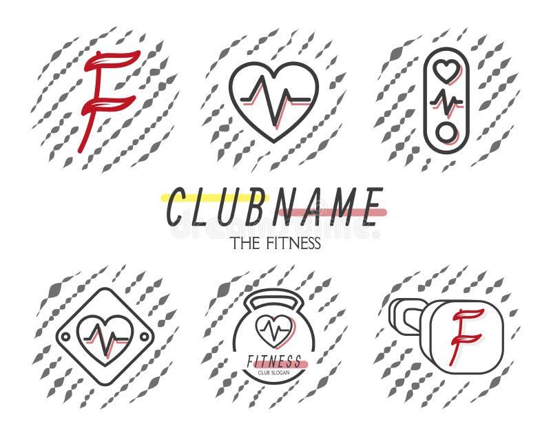 Значок установленный для спорта pilates фитнеса Простые линейные эмблемы для образа жизни здоровья вектор иллюстрация штока