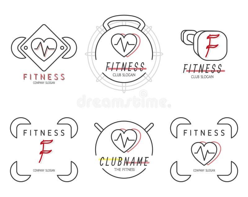Значок установленный для спорта pilates фитнеса Простые линейные эмблемы для образа жизни здоровья вектор бесплатная иллюстрация