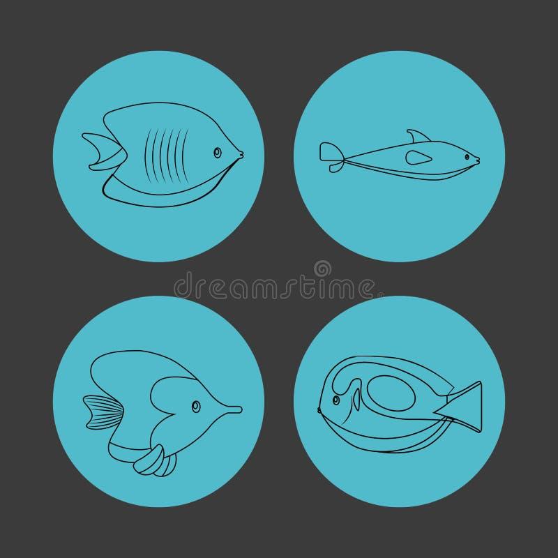 Значок установленный над кругами Дизайн морской жизни по мере того как вектор свирли предпосылки декоративный графический стилизо иллюстрация вектора