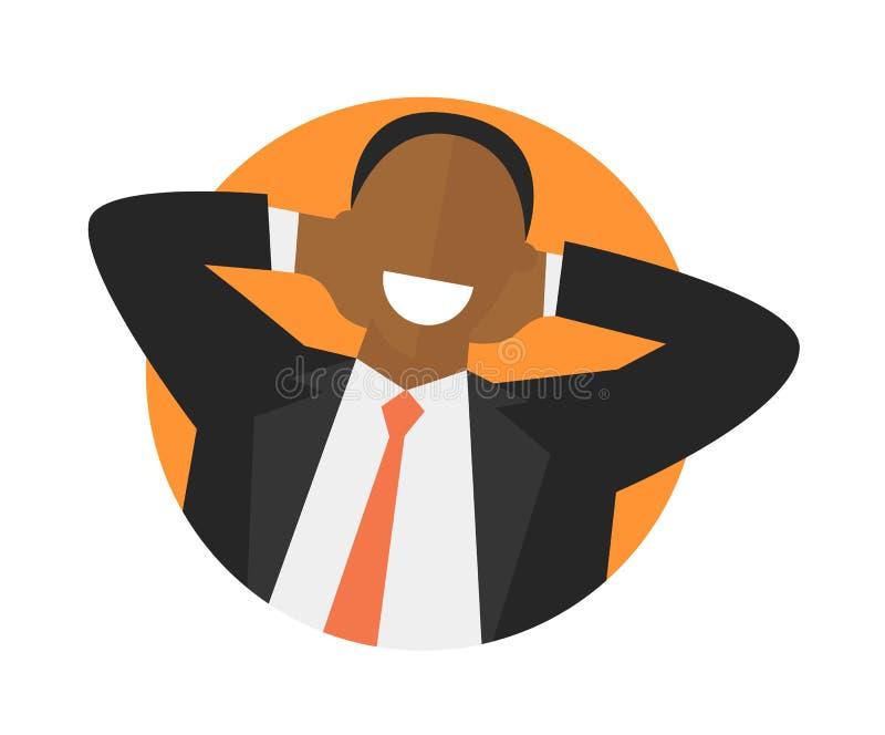 Значок удовлетворенного расслабляющего чернокожего человека плоский Концепция сделанная работой Счастливый неличный бизнесмен Изо бесплатная иллюстрация