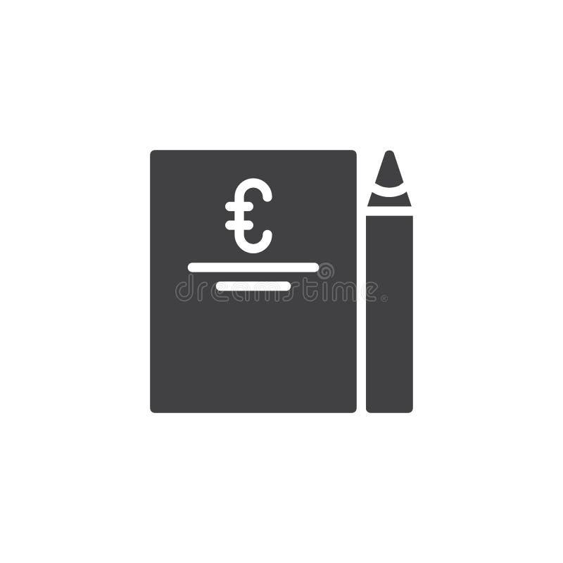 Значок фактуры евро и вектора ручки иллюстрация штока