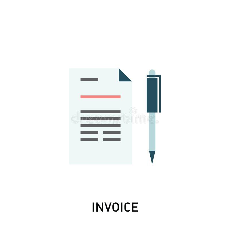 Значок фактуры Оплата и представляя счет фактуры, дело или финансовая деятельность подписывают иллюстрация штока