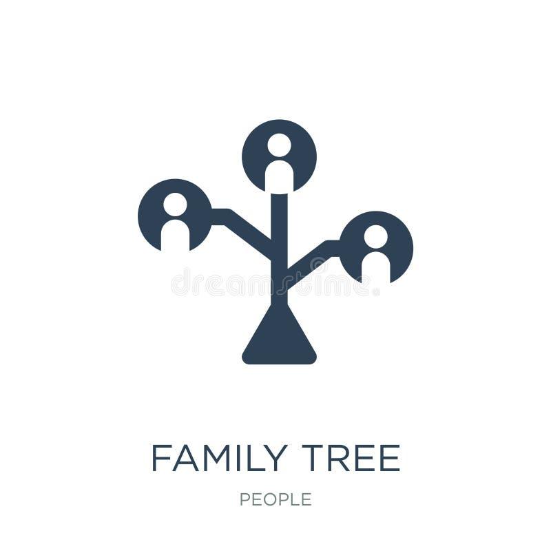 значок фамильного дерев дерева в ультрамодном стиле дизайна значок фамильного дерев дерева изолированный на белой предпосылке зна иллюстрация вектора