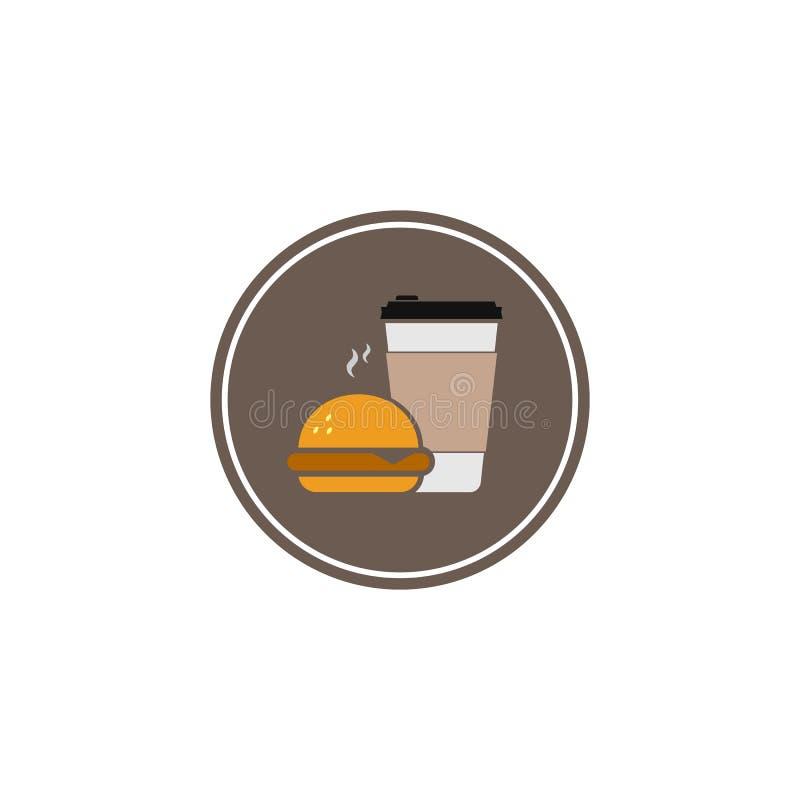 Значок фаст-фуда Кофе и бургер символ цвета вектора плоский изолированный на белой предпосылке в круге r иллюстрация вектора