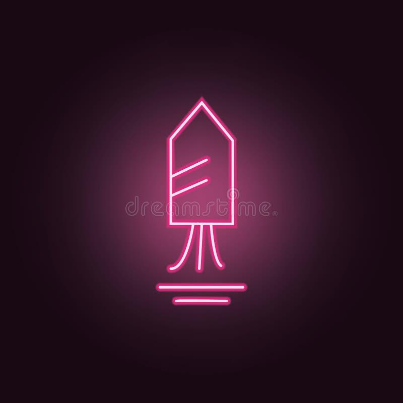 Значок фейерверка неоновый Элементы набора партии r бесплатная иллюстрация