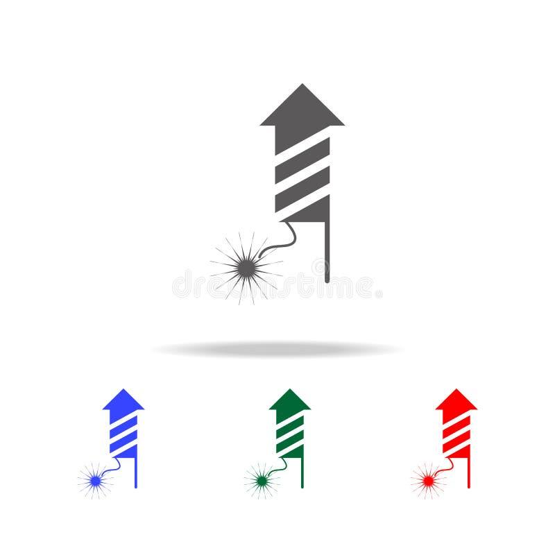 Значок фейерверка Элементы праздников рождества в multi покрашенных значках Наградной качественный значок графического дизайна Пр иллюстрация штока