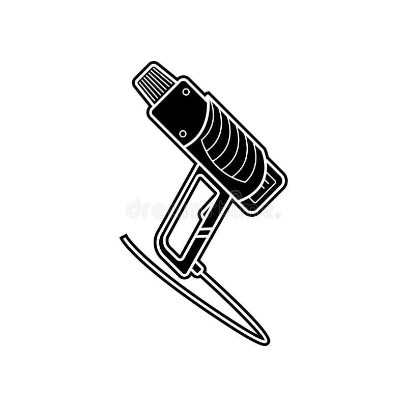 значок фена для волос здания Элемент домашнего инструмента ремонта для мобильных концепции и значка приложений сети Глиф, плоский иллюстрация штока