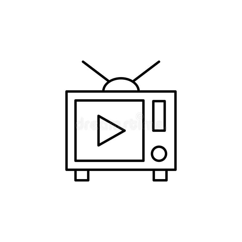 значок фильма по телевизору Элемент видео- значка плана продуктов для мобильных приложений концепции и сети Тонкую линию значок ф иллюстрация штока