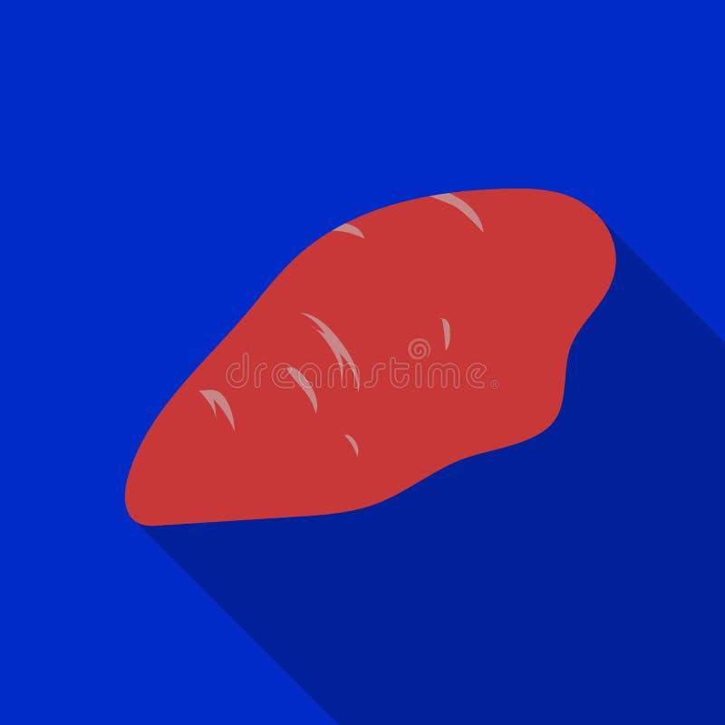 Значок филе цыпленка в плоском стиле изолированный на белой предпосылке Иллюстрация вектора запаса символа мяс иллюстрация вектора