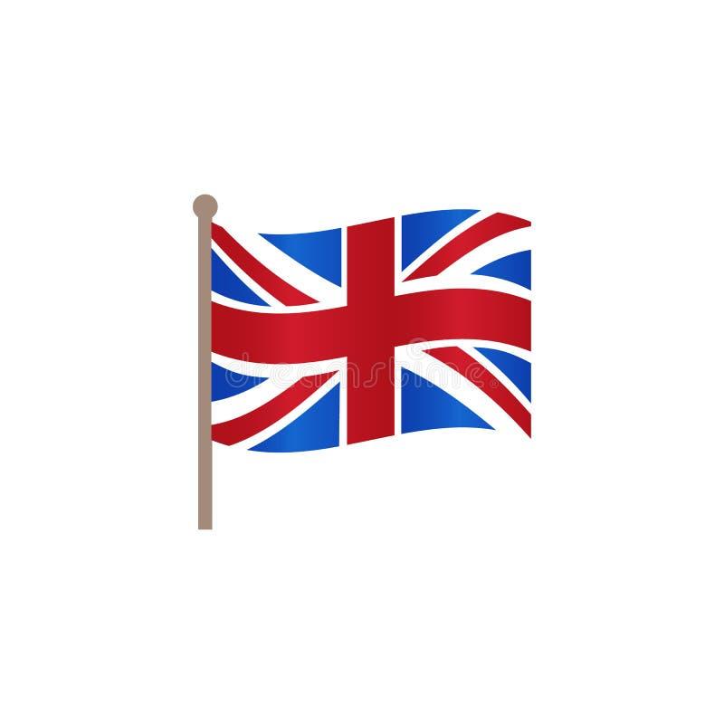 Значок флага Британии Юниона Джек вектора плоский иллюстрация вектора