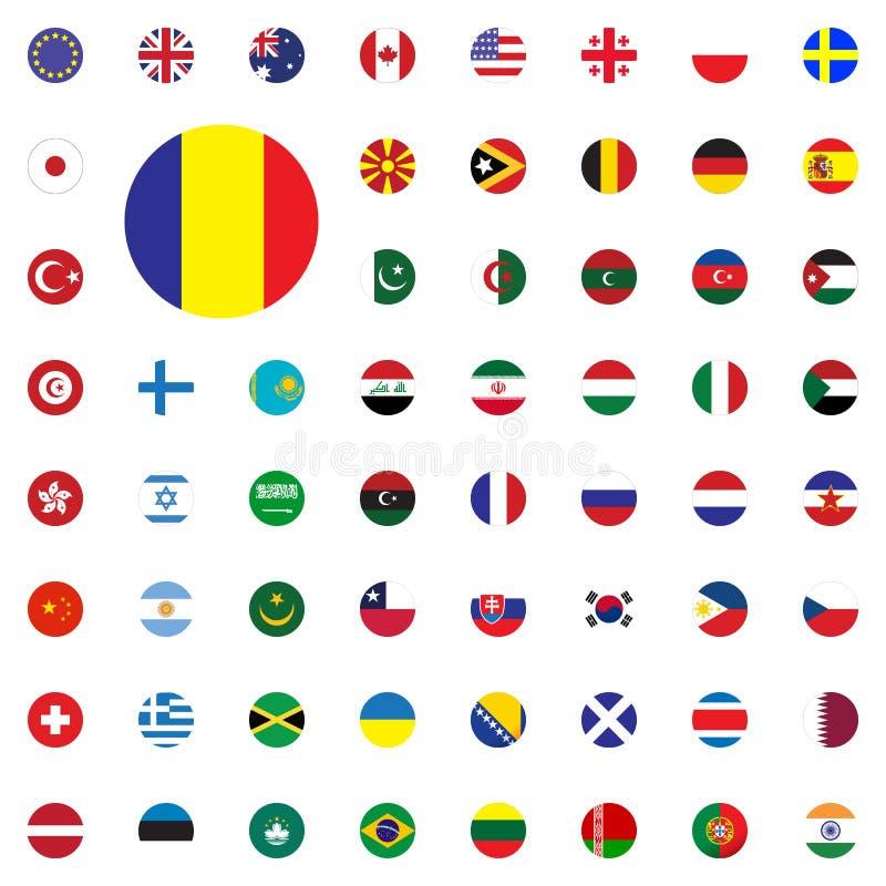 Значок флага Румынии круглый Круглый мир сигнализирует установленные значки иллюстрации вектора стоковые изображения
