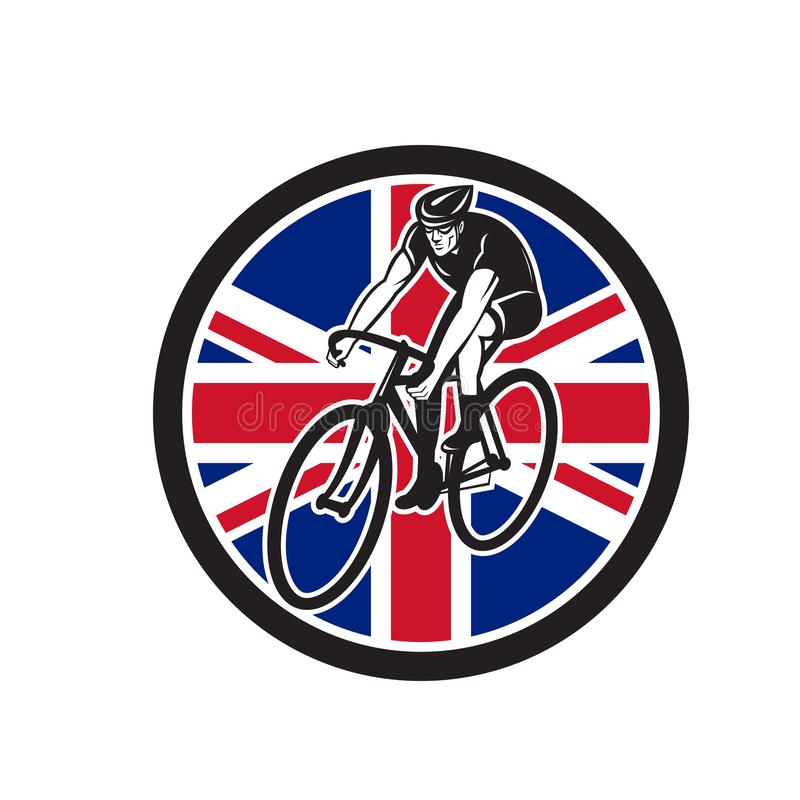 Значок флага Юниона Джек великобританского велосипедиста задействуя иллюстрация вектора