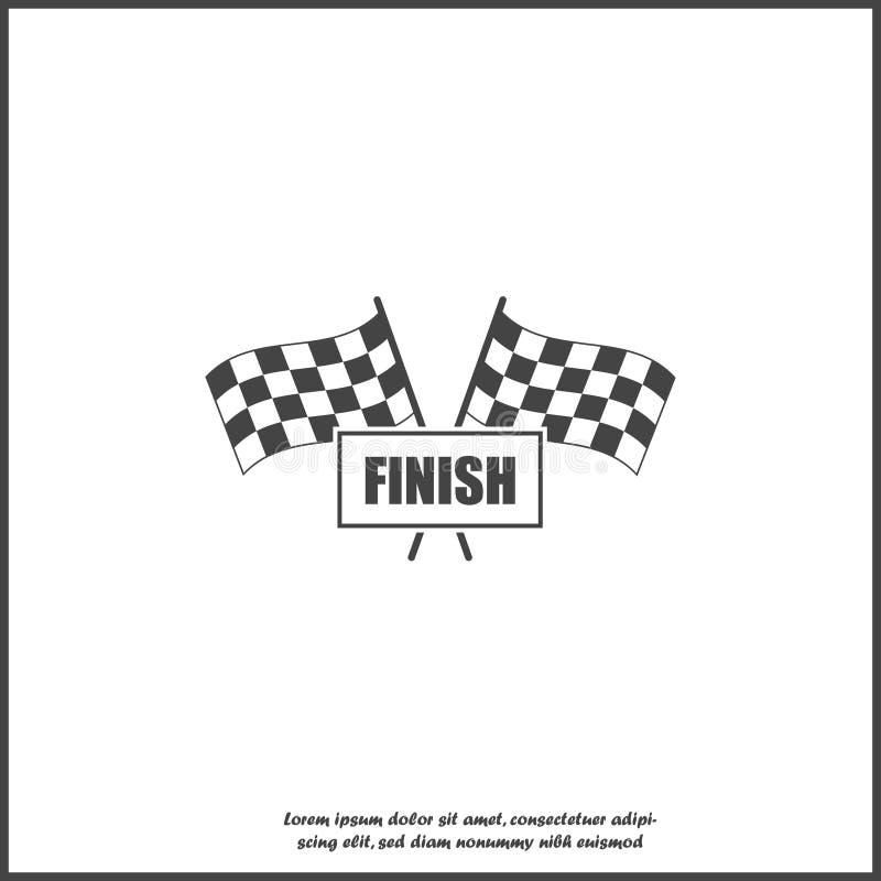 Значок флага Vector car racing. Начало, конец символа на белом изолированном фо иллюстрация штока