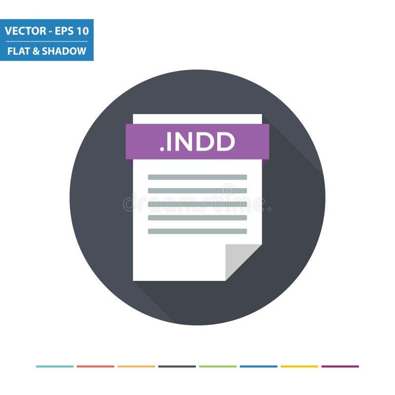 Значок формата фаил документа постраничного макета INDD плоский иллюстрация вектора