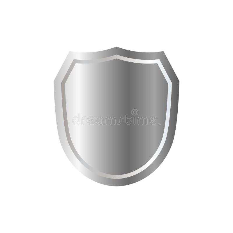 Значок формы серебряного экрана серый знак эмблемы 3D изолированный на белой предпосылке Символ безопасности, силы, защиты badged бесплатная иллюстрация