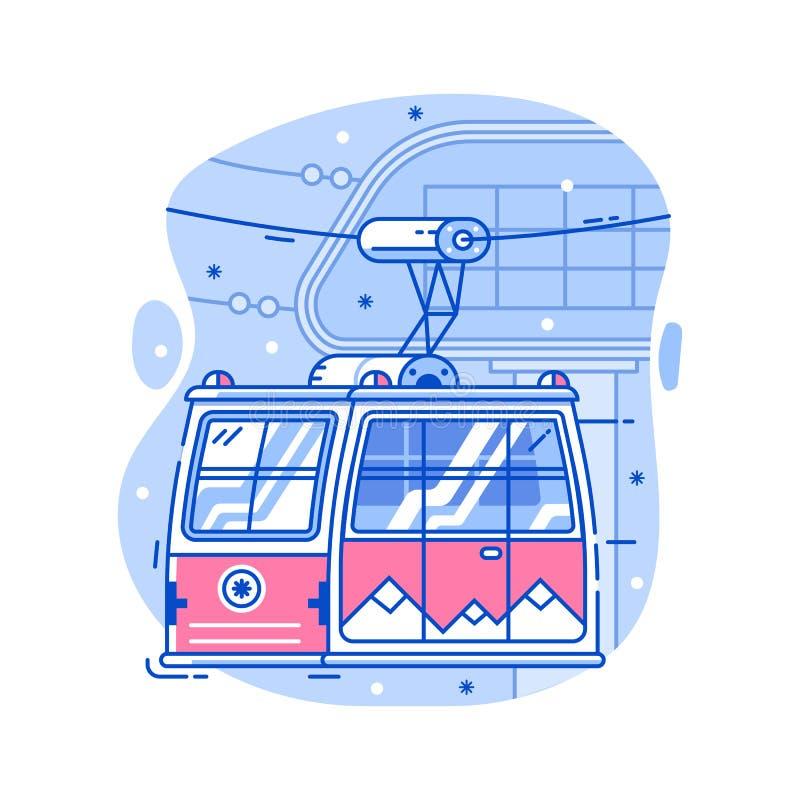 Значок фуникулера лыжи красный иллюстрация вектора