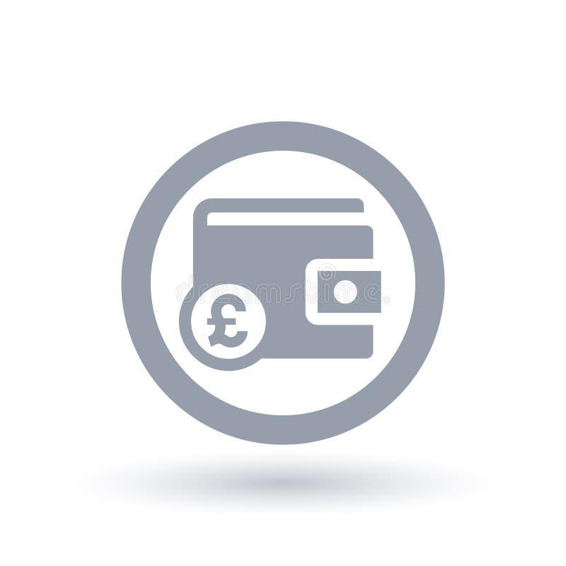 Значок фунта бумажника - великобританский символ денег портмона иллюстрация вектора