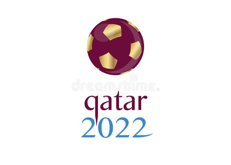 значок 2022 футбола футбола золота Катара, vector абстрактный логотип знамени для предпосылки 2022 шаблона кубка мира КАТАРА ФИФА иллюстрация штока