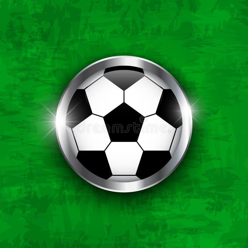Значок футбола Футбольный мяч с покрытым стеклом и краем металла на предпосылке текстуры травы зеленого цвета Вектор для междунар иллюстрация вектора