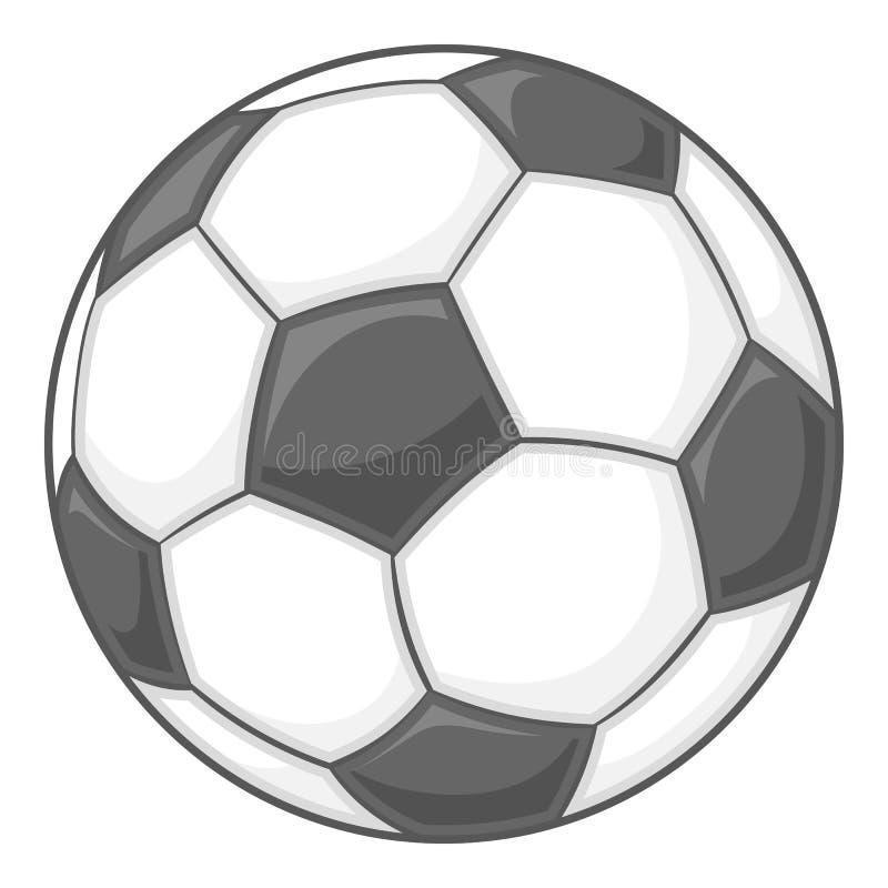 Значок футбольного мяча, черный monochrome стиль иллюстрация штока
