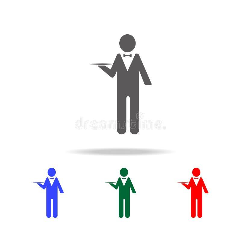 значок характера кельнера Элементы профессии людей в multi покрашенных значках Наградной качественный значок графического дизайна иллюстрация вектора