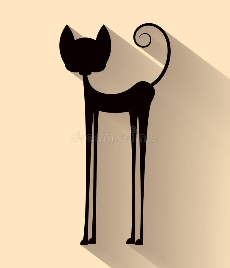 Значок хеллоуина плоский с длинной тенью черный кот бесплатная иллюстрация