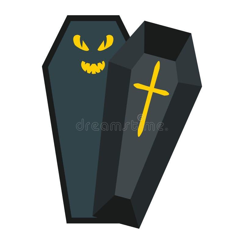 Значок, хеллоуин и страшное гроба хеллоуина плоские бесплатная иллюстрация