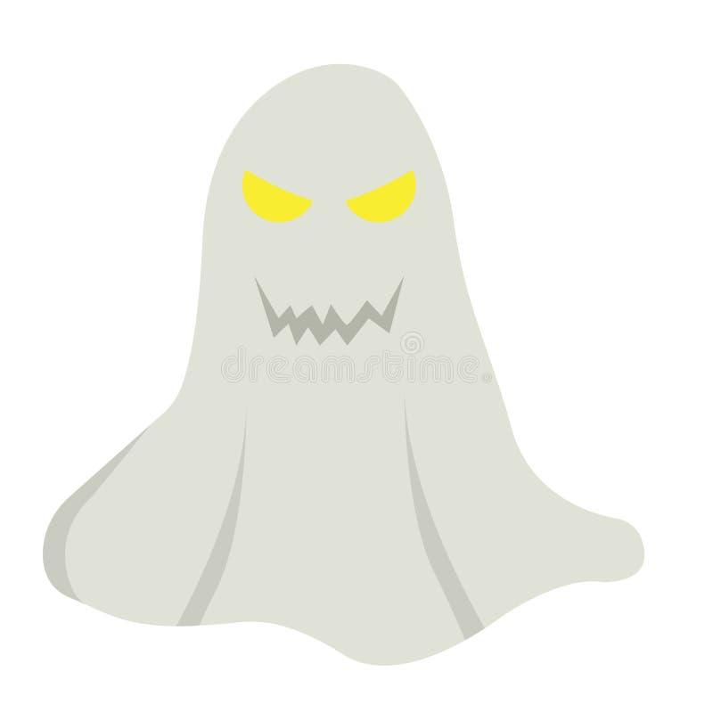 Значок, хеллоуин и страшное призрака плоские, знак ужаса иллюстрация вектора