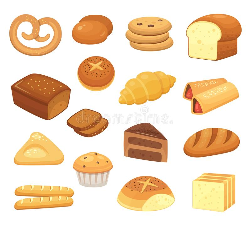 Значок хлеба шаржа Хлебы и крены Французский крен, здравица завтрака и сладостный кусок торта Значки вектора продуктов хлебопекар иллюстрация штока