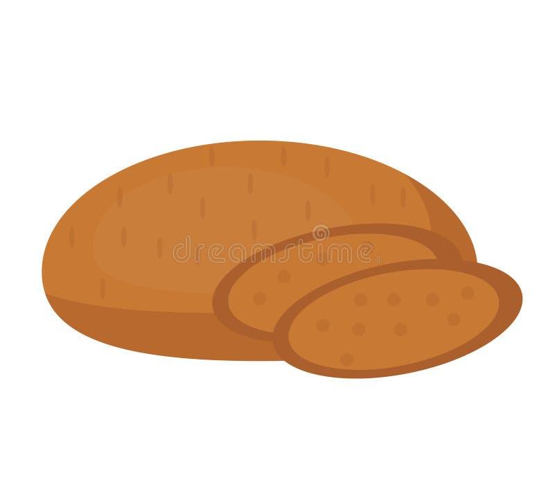 Значок хлеба Rye Плоский дизайн, изолированный на белой предпосылке Иллюстрация вектора, искусство зажима иллюстрация вектора