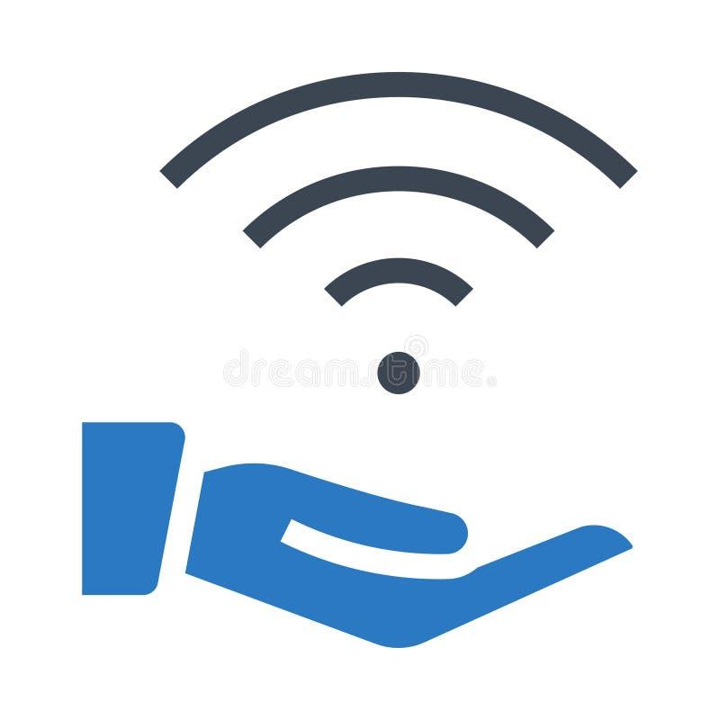 Значок цвета глифов wifi руки двойной иллюстрация вектора